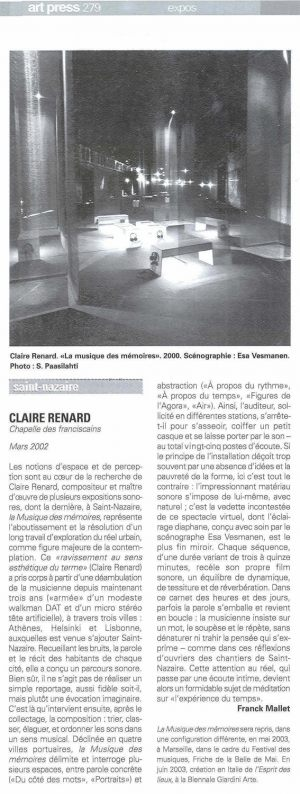 La Musiques des Mémoires Claire Renanrd